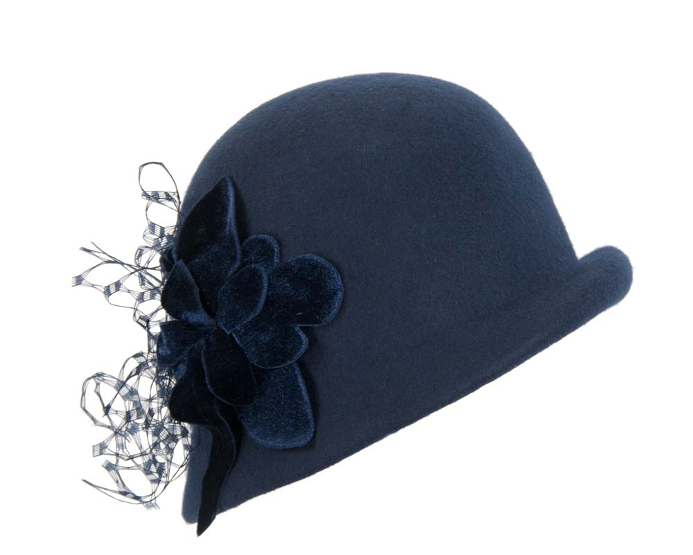 Navy cloche with flower F589N Fascinators.com.au
