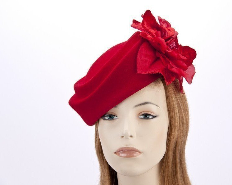 Large red pillbox hat with rose flower F593R Fascinators.com.au