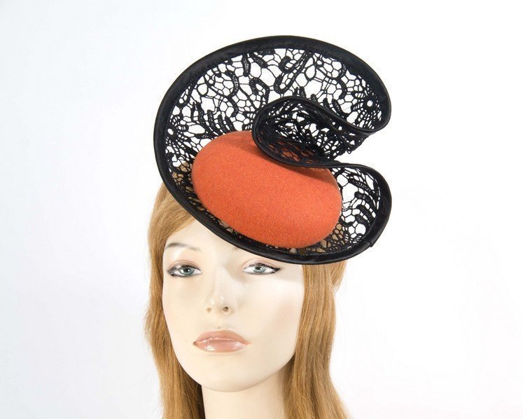Orange lace winter fascinator Fascinators.com.au