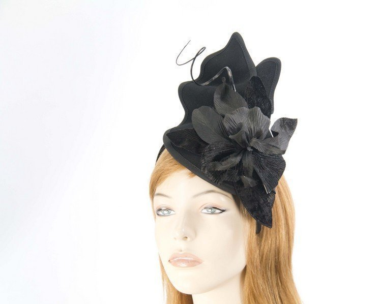 Black felt fascinator with flower Fascinators.com.au