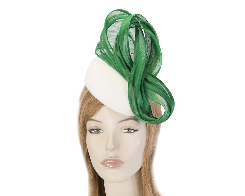 Cream racing winter pillbox with green bow Fascinators.com.au