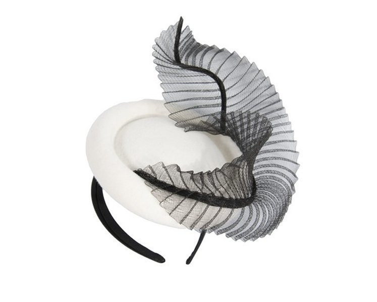 Bespoke cream & black winter fascinator by Fillies Collection Fascinators.com.au