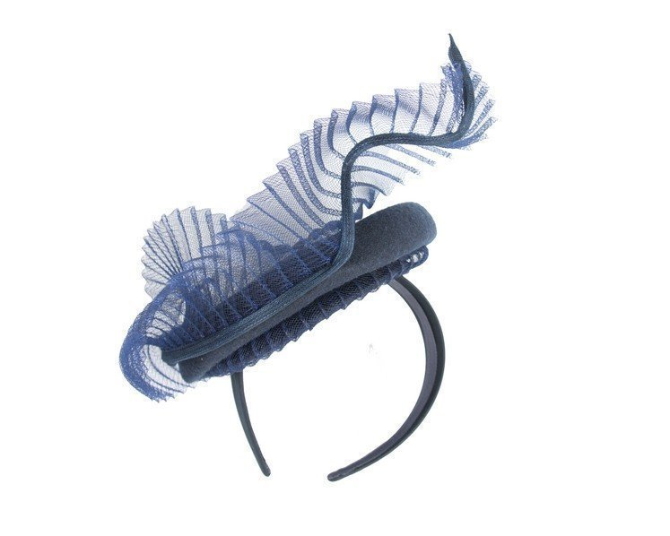 Bespoke navy winter fascinator by Fillies Collection Fascinators.com.au