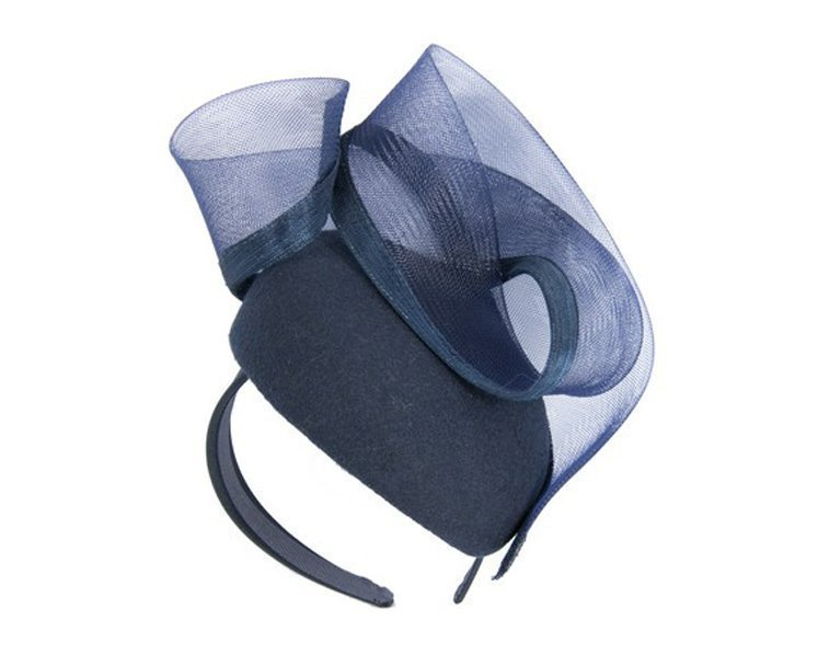 Navy pillbox with crinoline trim Fascinators.com.au