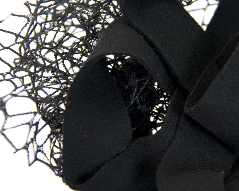Bespoke black felt winter racing fascinator Fascinators.com.au