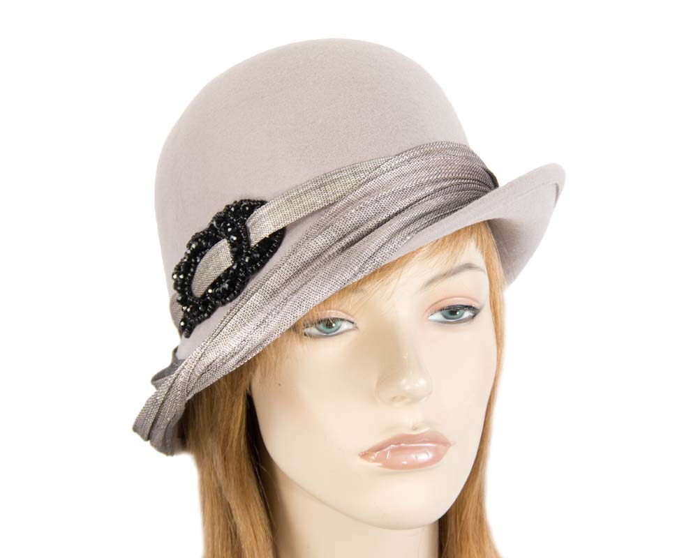 Australian made grey felt bucket hat Fascinators.com.au