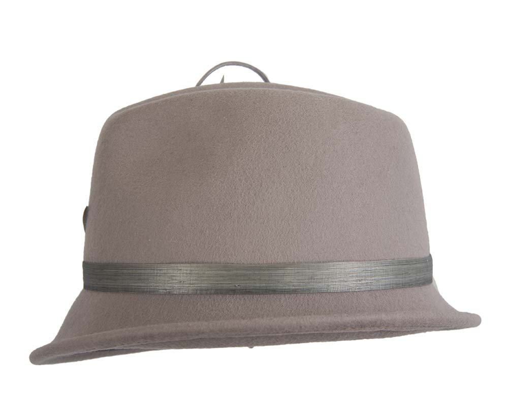 Grey ladies felt trilby hat by Fillies Collection Fascinators.com.au