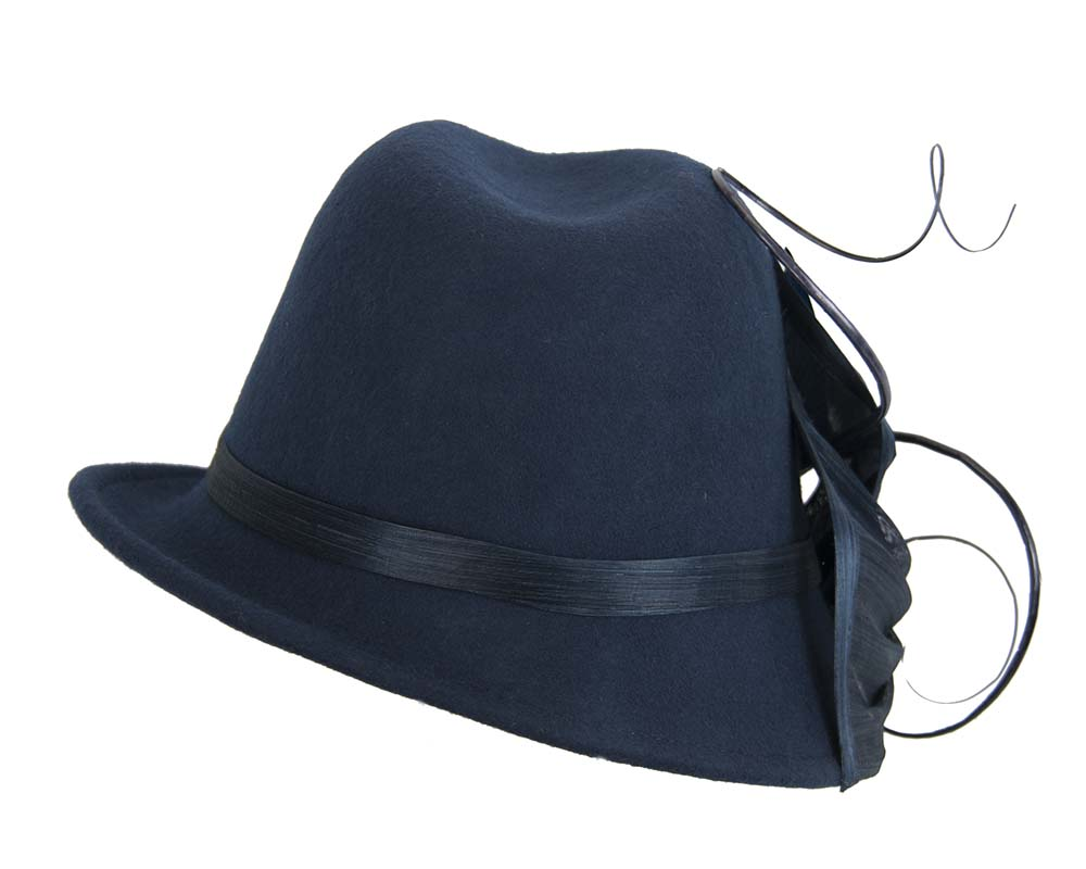 Navy ladies felt trilby hat by Fillies Collection Fascinators.com.au