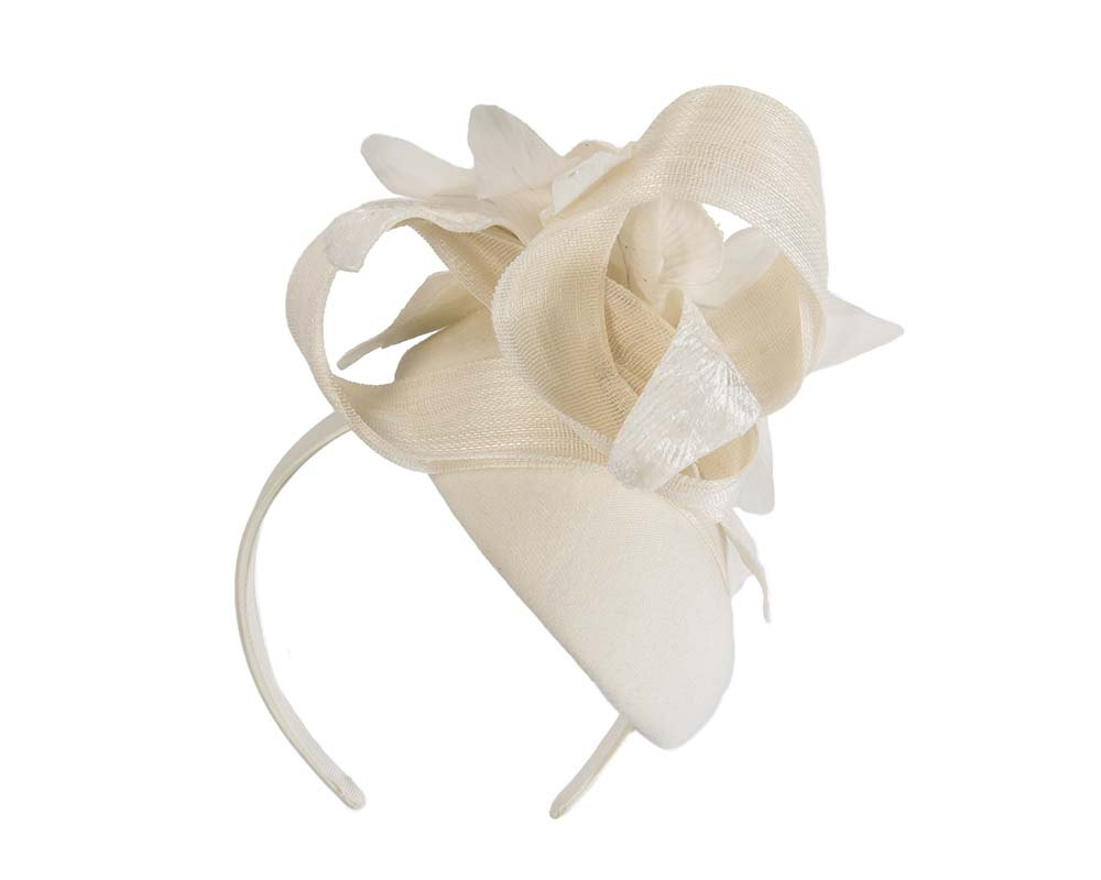 Bespoke cream pillbox winter fascinator with flower by Fillies Collection Fascinators.com.au