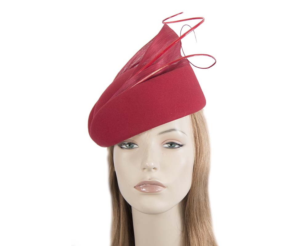 Large red felt beret hat by Fillies Collection Fascinators.com.au