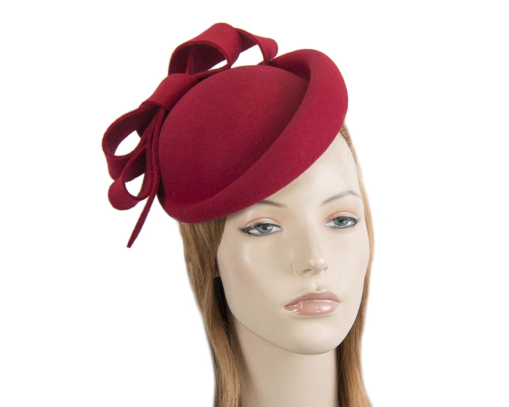 Red winter felt fascinator hat by Fillies Collection Fascinators.com.au