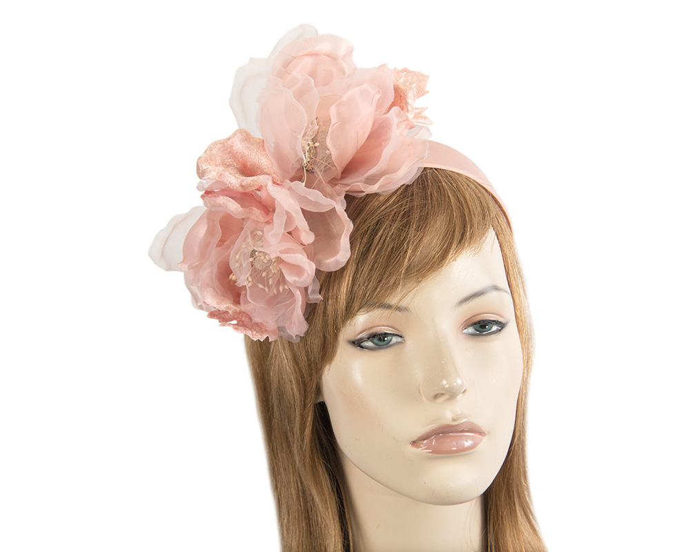 Large pink flower headband fascinator by Fillies Collection Fascinators.com.au F653 pink