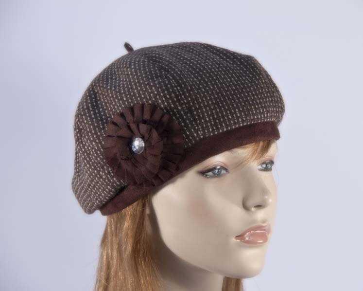 Chocolate beret J226C Fascinators.com.au