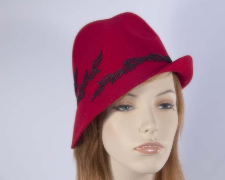 Red felt trilby hat J272R Fascinators.com.au