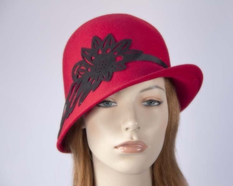 Red ladies winter felt cloche hat Max Alexander J285R Fascinators.com.au