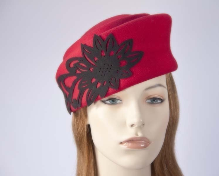 Red Jackie Onassis style felt pillbox Max Alexander J291R Fascinators.com.au