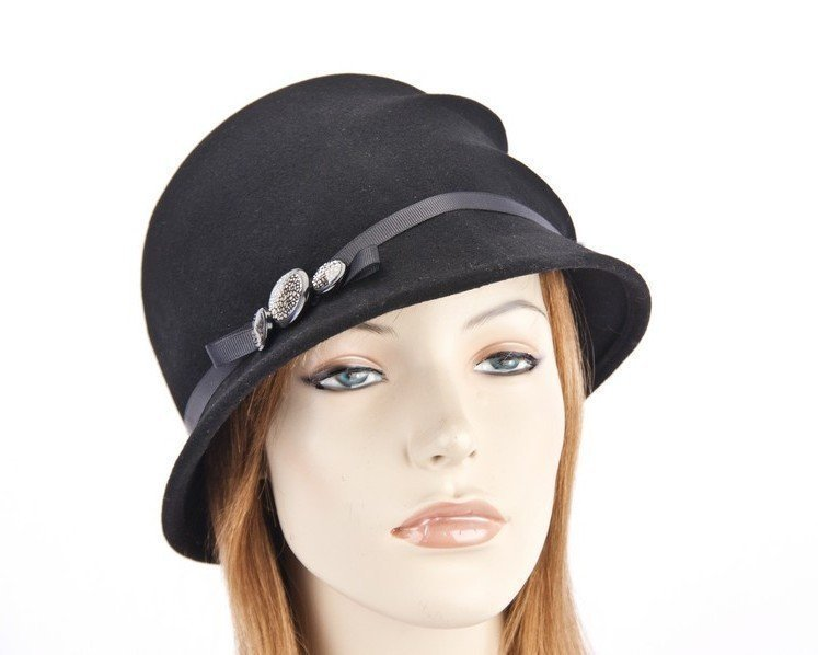 Unusual black cloche with buttons J307B Fascinators.com.au
