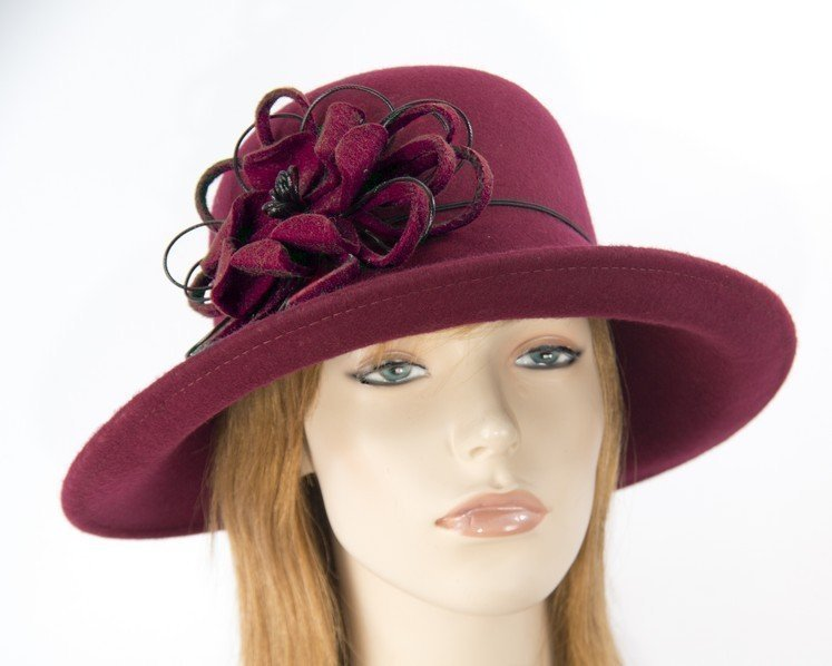 Large burgundy ladies felt hat Fascinators.com.au