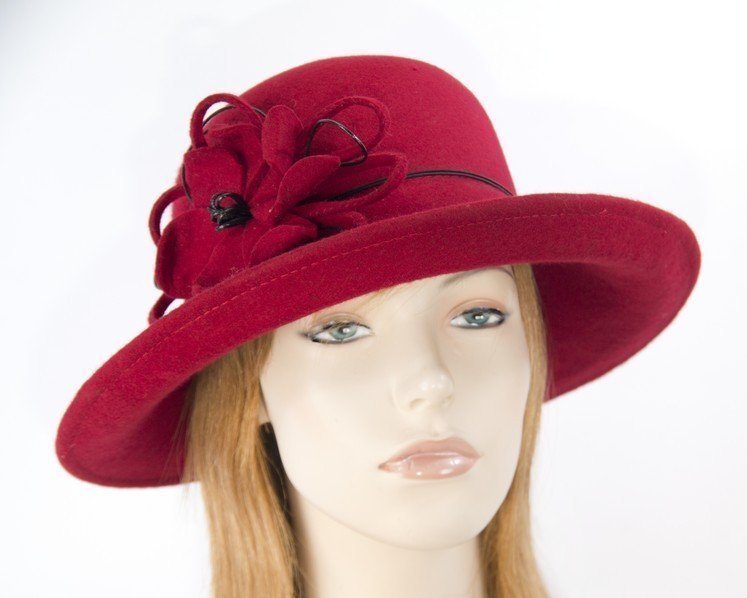 Large red ladies felt hat Fascinators.com.au