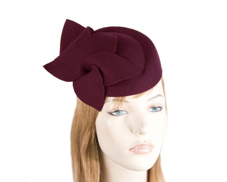 Burgundy felt pillbox fascinator Fascinators.com.au