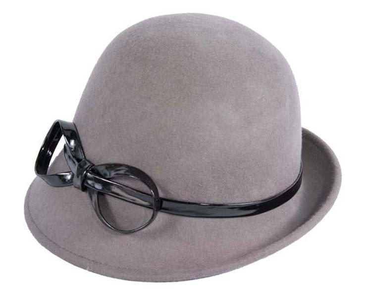 Grey felt cloche hat Fascinators.com.au
