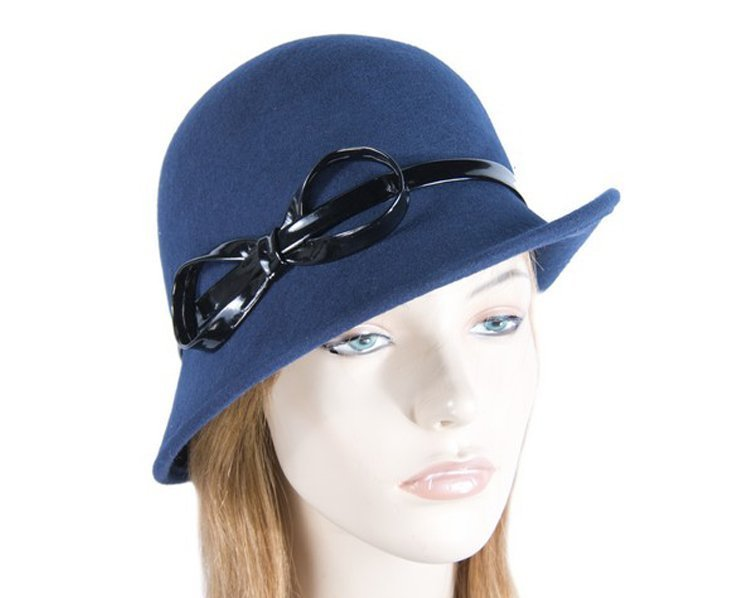 Navy felt cloche hat Fascinators.com.au