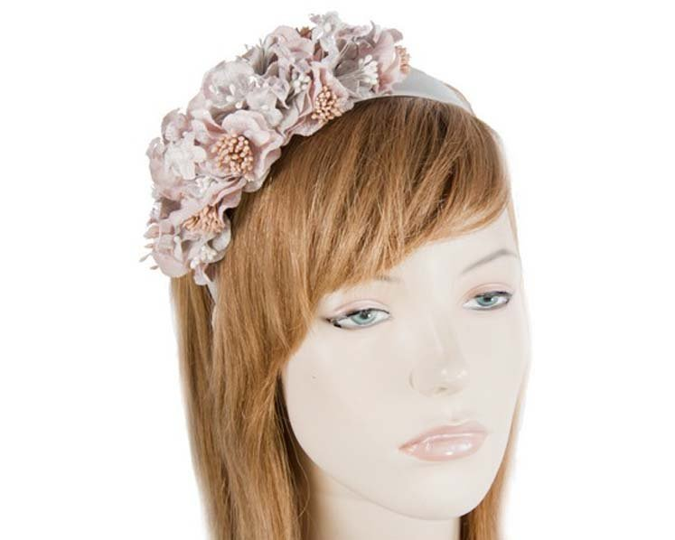 Silver & pink flower fascinator Fascinators.com.au J344 grey