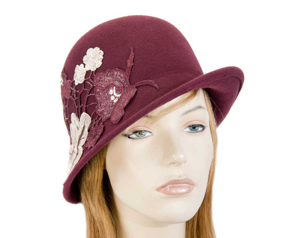 Burgundy wine felt bucket cloche hat with lace Fascinators.com.au