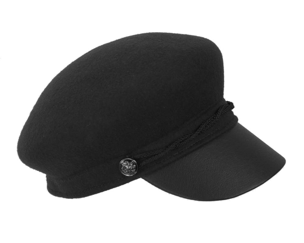 Black felt captains cap fashion hat Fascinators.com.au