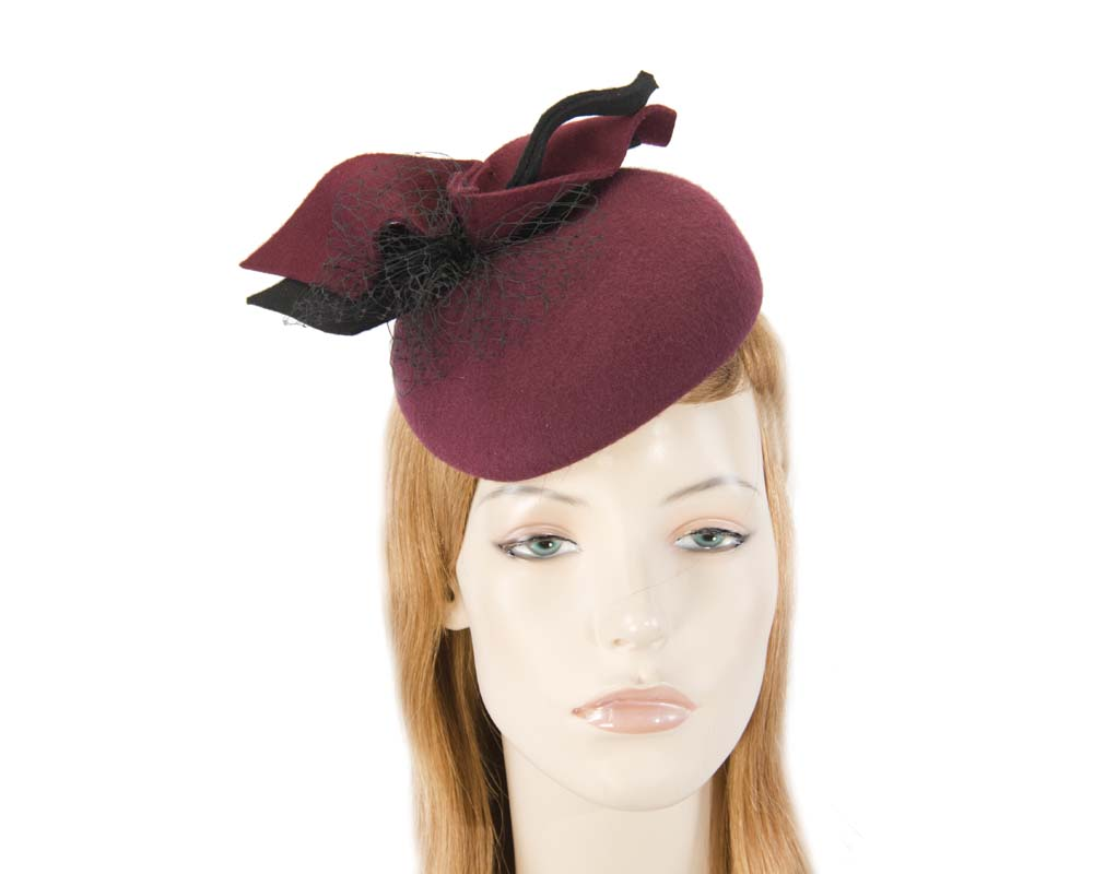 Felt burgundy wine pillbox winter fascinator Fascinators.com.au