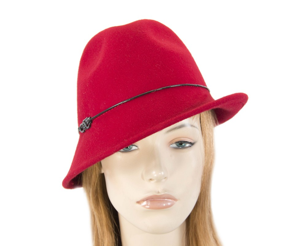 Red winter felt trilby hat Fascinators.com.au