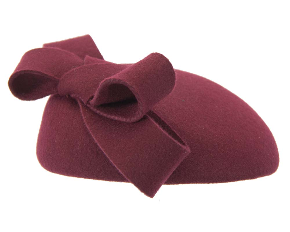 Burgundy wine pillbox with bow Fascinators.com.au