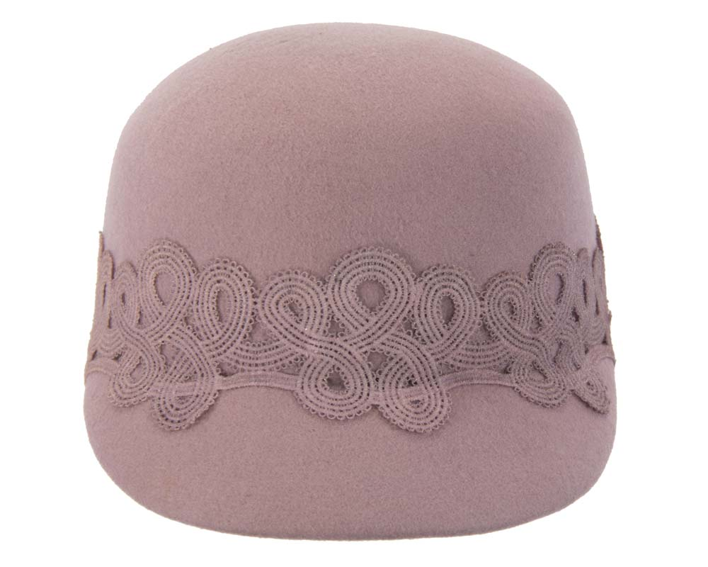 Dusty pink felt fashion cap with lace Fascinators.com.au