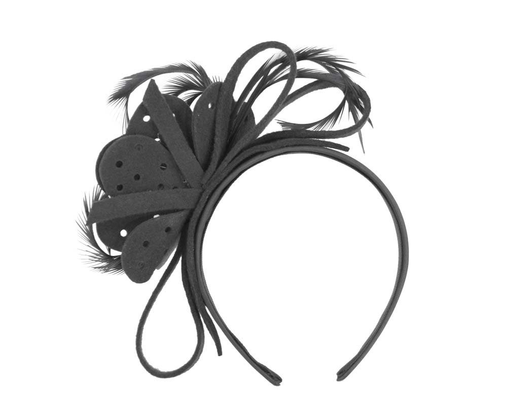 Black felt flower headband fascinator Fascinators.com.au