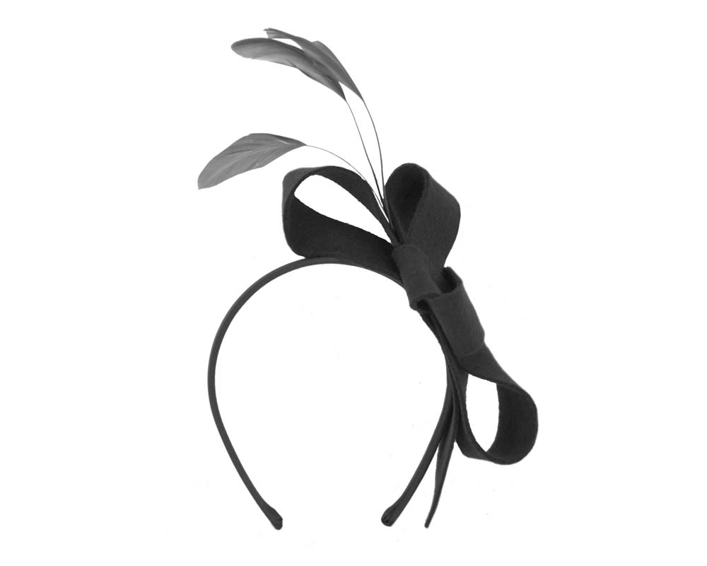 Black felt bow racing fascinator Fascinators.com.au