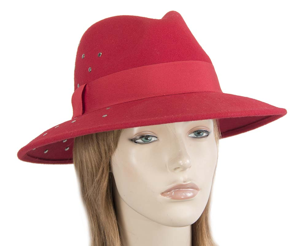 Wide brim red felt fedora with studs by Max Alexander Fascinators.com.au