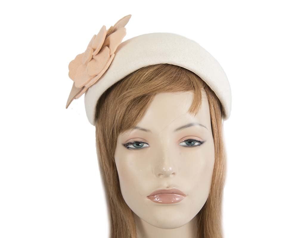 Cream & nude puffy band winter fascinator by Max Alexander Fascinators.com.au