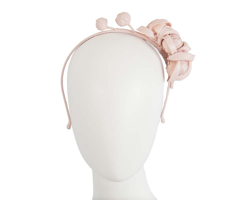 Pink leather flower headband fascinator Fascinators.com.au J377 pink