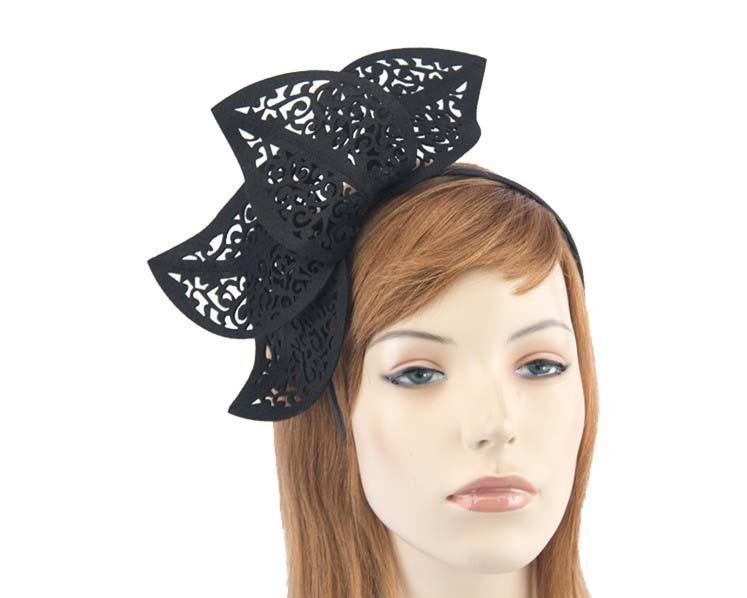 Modern black fascinator for races by Max Alexander MA681B Fascinators.com.au