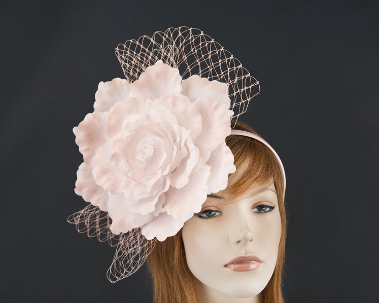 Large pink flower fascinator for Melbourne Cup races by Max Alexander MA696SP Fascinators.com.au MA696 soft pink