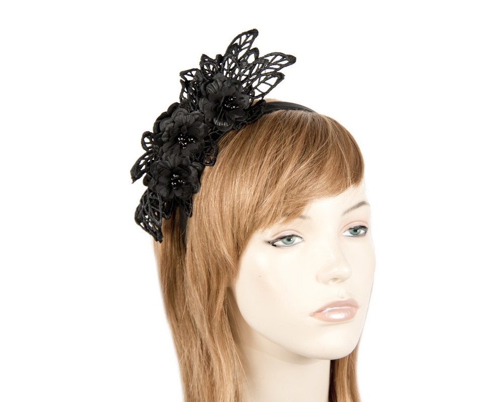 Black lace crown fascinator Fascinators.com.au