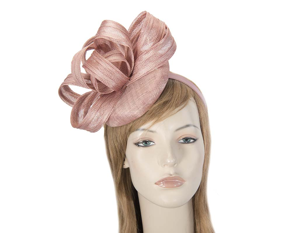 Dusty pink sinamay pillbox with loops by Max Alexander Fascinators.com.au MA797 dusty pink