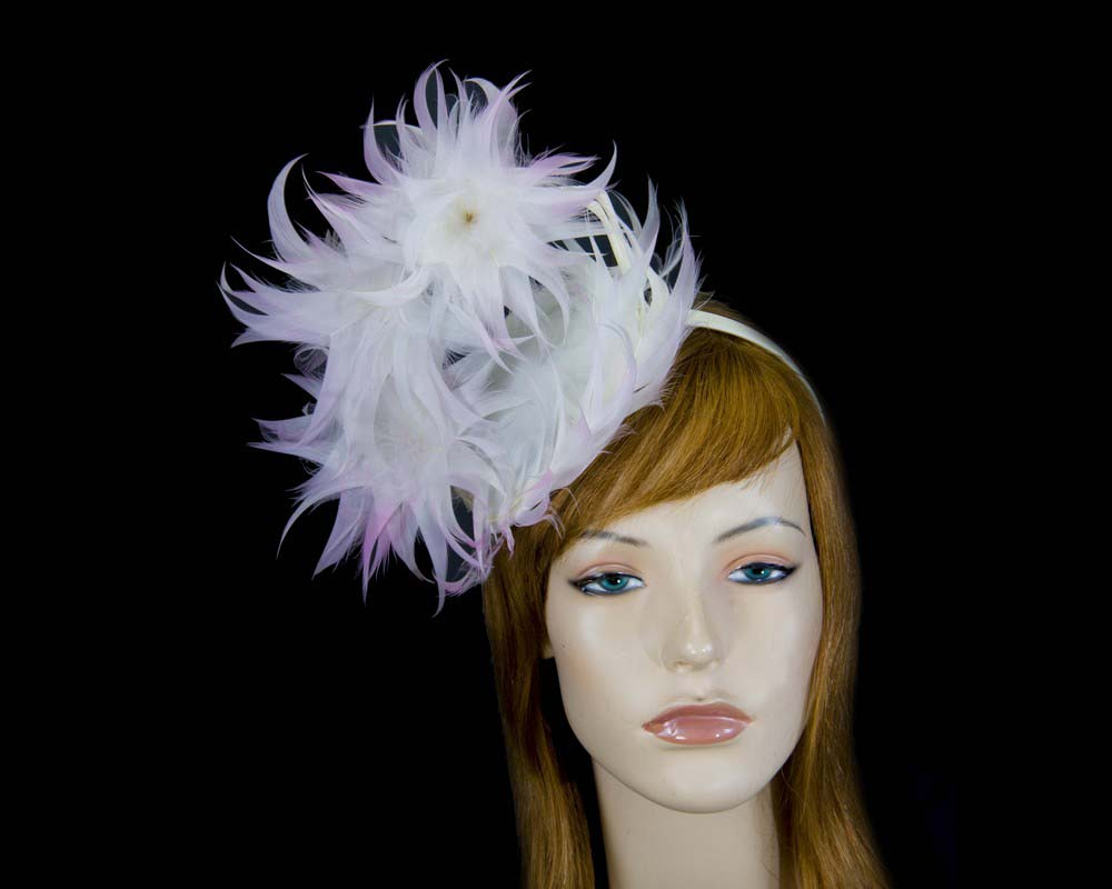 Cream & pink sculptured feather fascinator by Max Alexander Fascinators.com.au MA799 cream pink