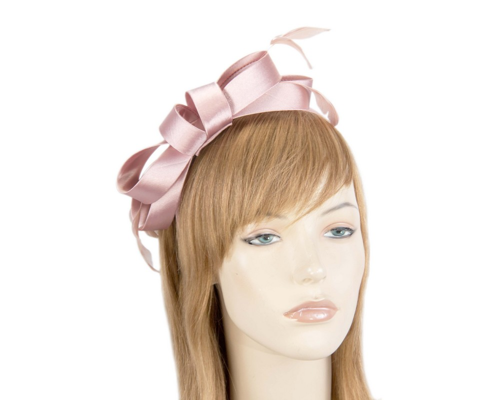 Dusty pink satin bow fascinator by Max Alexander Fascinators.com.au MA824 dusty pink