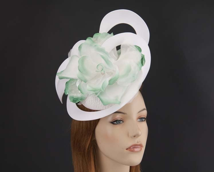 Unusual Australian made white & green racing fascinator by Fillies Collection S155WG Fascinators.com.au