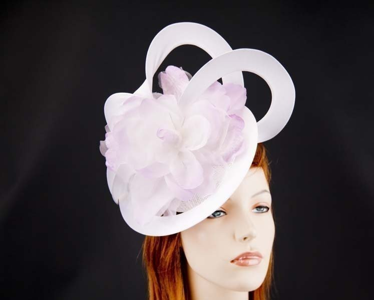 White & lilac racing fascinator by Fillies Collection Fascinators.com.au