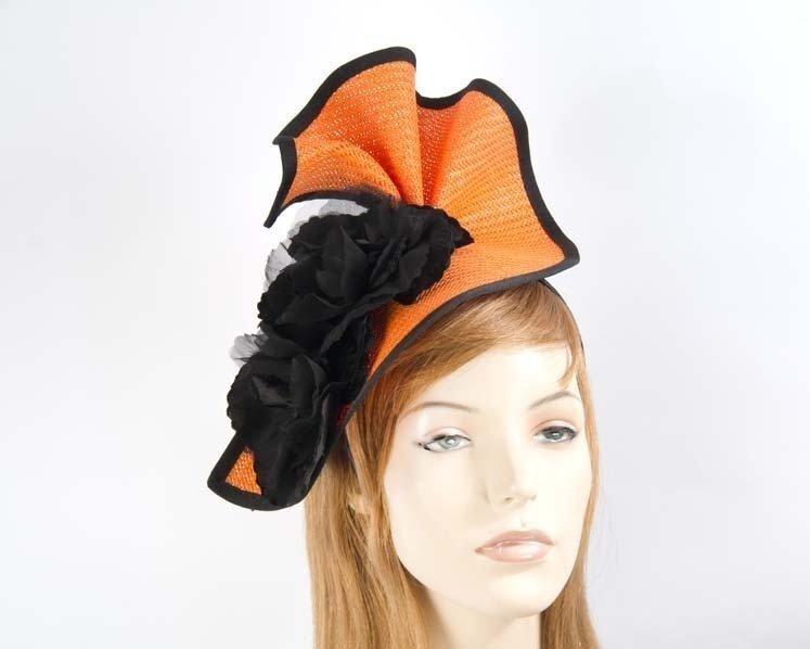 Orange & black Fillies Collection racing fascinator Fascinators.com.au