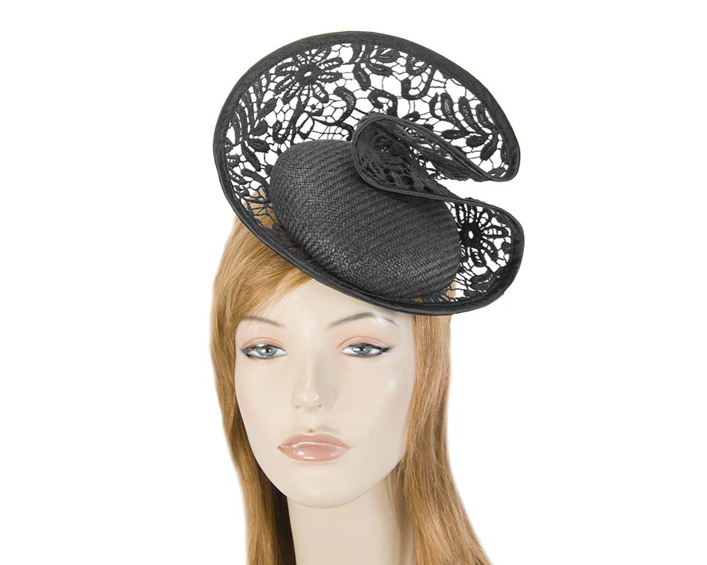 Black lace headpiece Fascinators.com.au