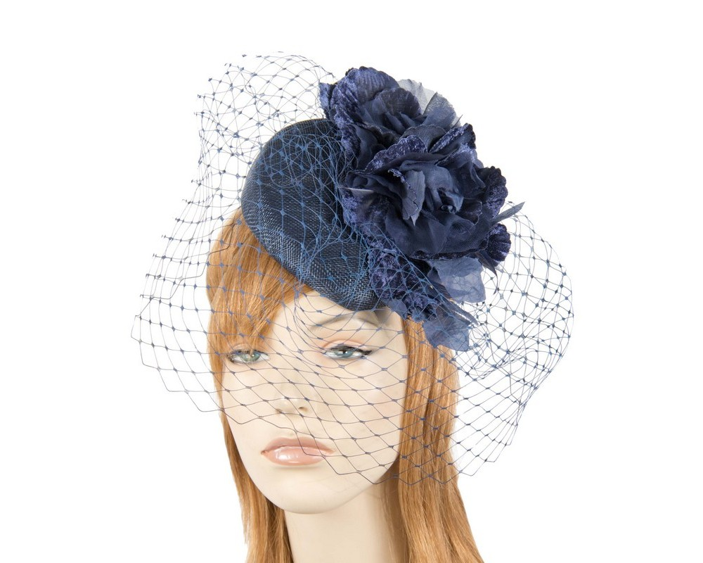 Navy flower pillbox with face veiling Fascinators.com.au