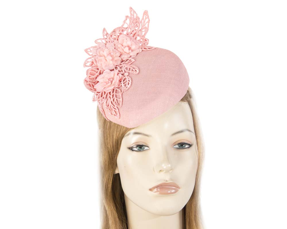 Pink lace pillbox fascinator Fascinators.com.au S208 pink